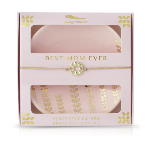 """Best Mom Ever"" Bracelet and Dish Set"