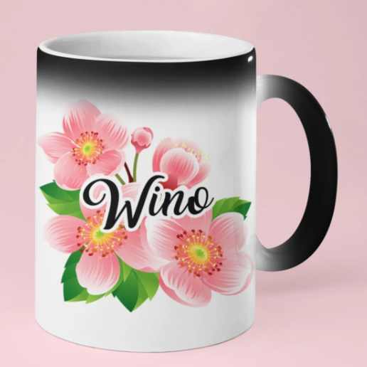 Black Glossy Coloring Changing Wino Mug