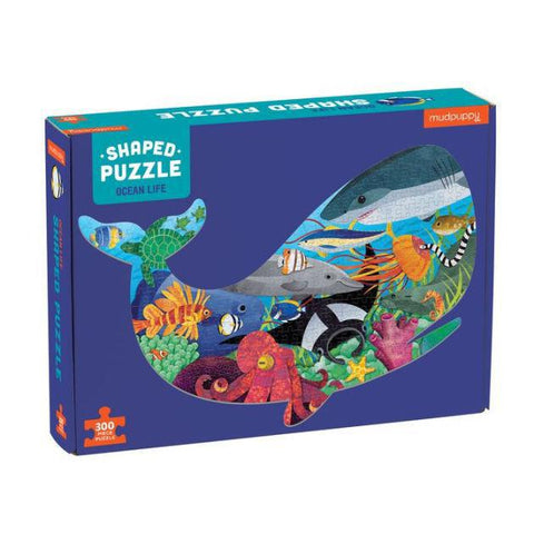Ocean Life Whale Shaped Kids 300 Piece Puzzle - Steel Petal Press
