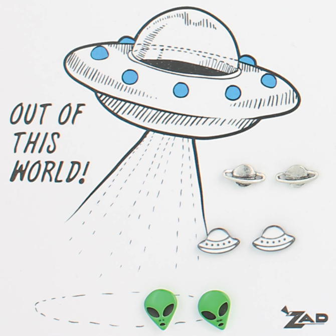 ZAD Out Of This World Alien Space Post Earrings