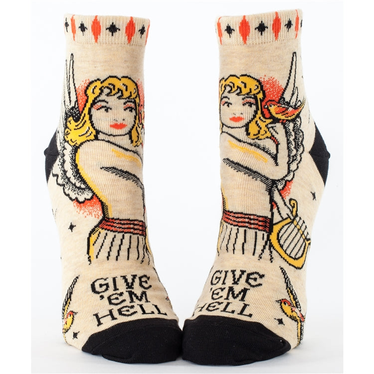 Womens Ankle Socks - Give Em Hell - Steel Petal Press