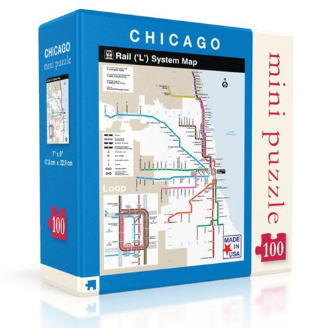 "Chicago ""L"" Train Map Mini Puzzle - Steel Petal Press"