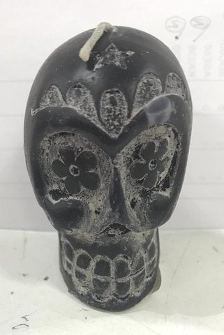 Black Sugar Skull Mini Candle