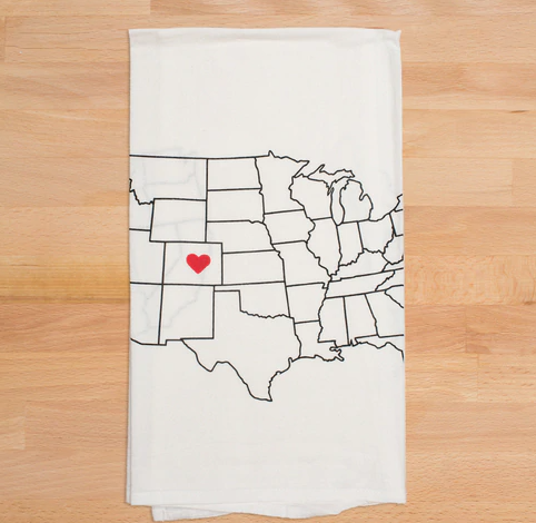 Chicago IL Heart White Cotton Flour Sack Tea Towel Hand Printed - CC