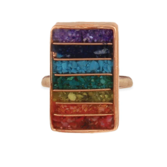 Rainbow Chakra Copper Plated Adjustable Ring