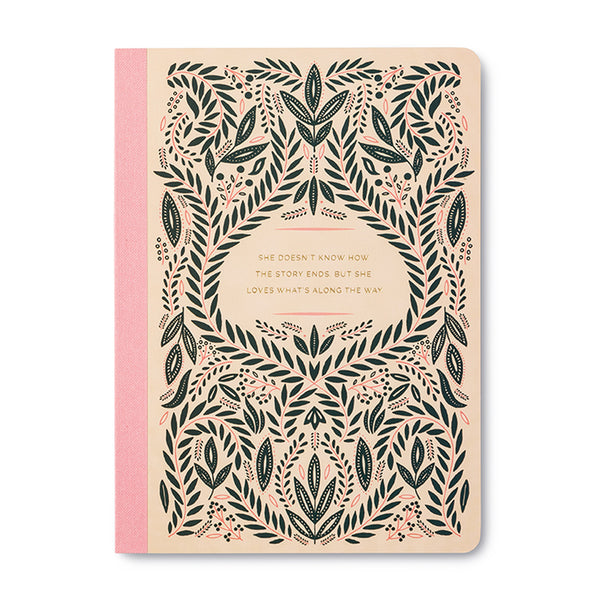 She Loves What's Along The Way Quote Notebook - Steel Petal Press