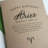 Aries Astrology Letterpress Birthday Card