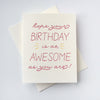 Letterpress Birthday card- Birthday Awesome
