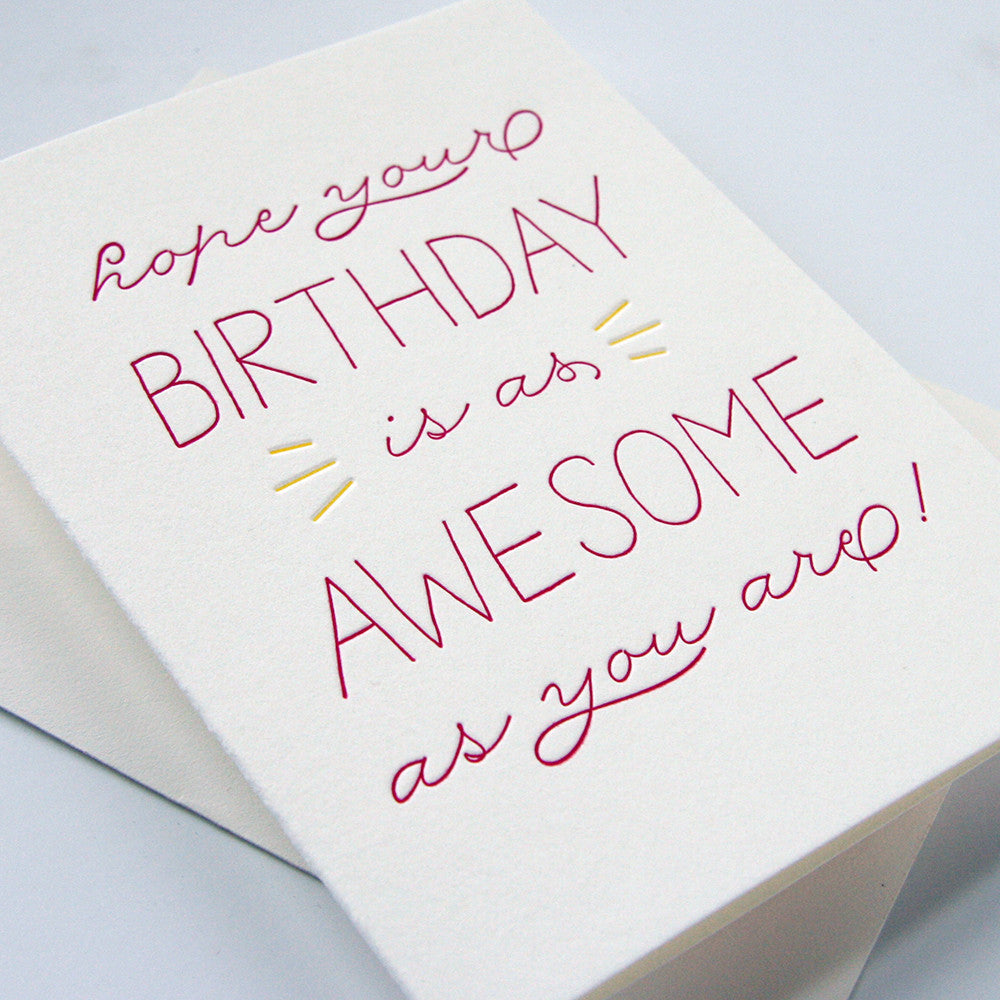 Birthday Awesome card - Steel Petal Press