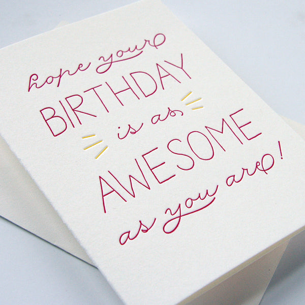 Birthday Awesome card | Steel Petal Press