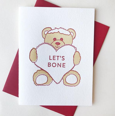 Bear Lets Bone Card - Steel Petal Press