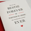 Letterpress Valentine and friendship card Bestie forever