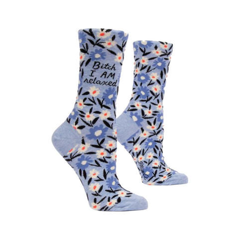 Womens Crew Socks - Bitch I AM Relaxed - Steel Petal Press