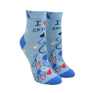 Womens Ankle Socks - I Heart Crying - Steel Petal Press