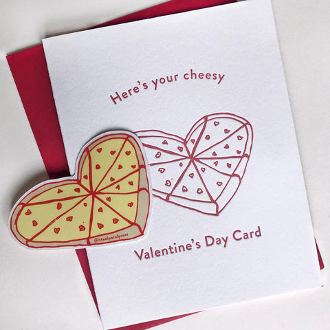 Cheesy Valentines Day Sticker Card - Steel Petal Press