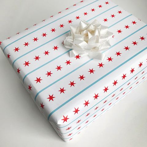 Chicago Flag Gift Wrap - Steel Petal Press