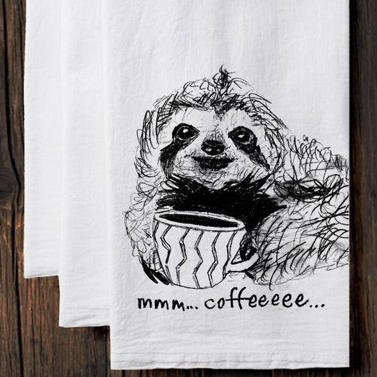 Tea Towel: Coffee Sloth - Steel Petal Press