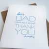Dad Thanks Letterpress Father's Day Card