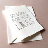 Letterpress Sympathy card for pet dog