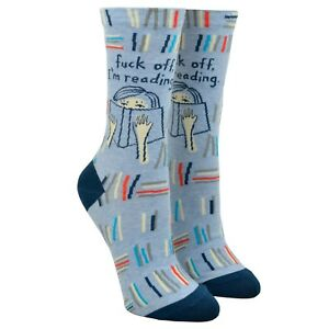 Womens Crew Socks - Fuck Off, I'm Reading - Steel Petal Press