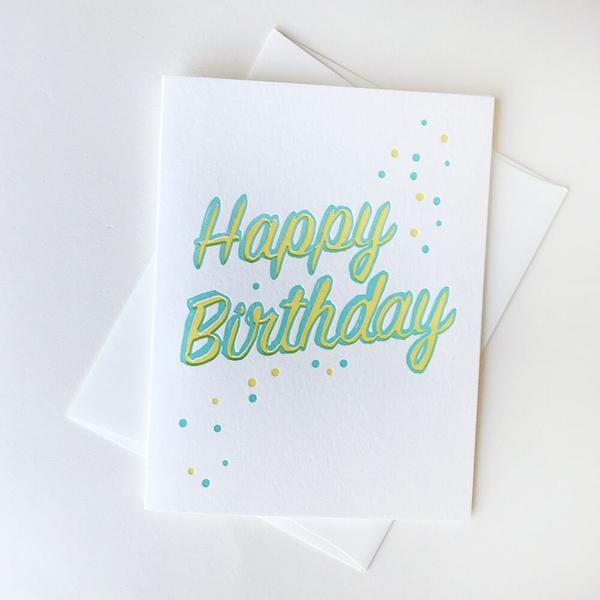 Happy Birthday Dots Card - Steel Petal Press