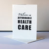 Letterpress protest card - Health Care
