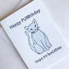 Letterpress cat birthday card for cat lovers