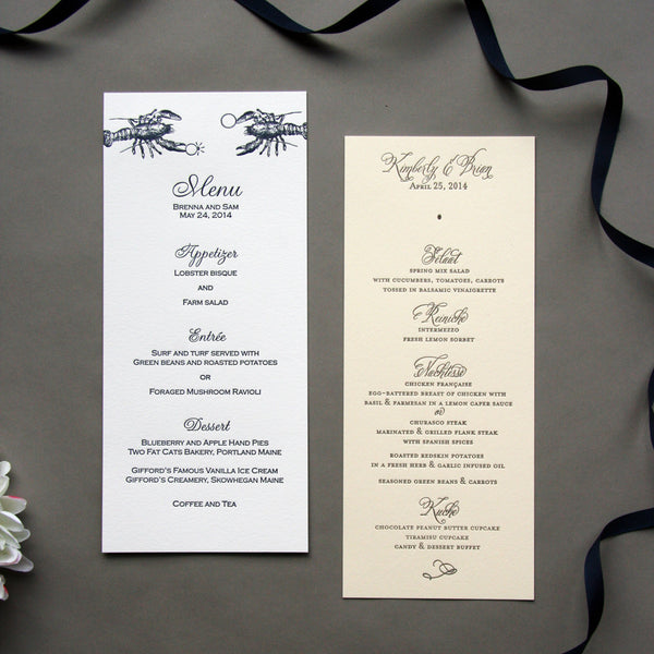 Wedding Menus | Steel Petal Press