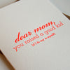 Letterpress Mother's Day Card