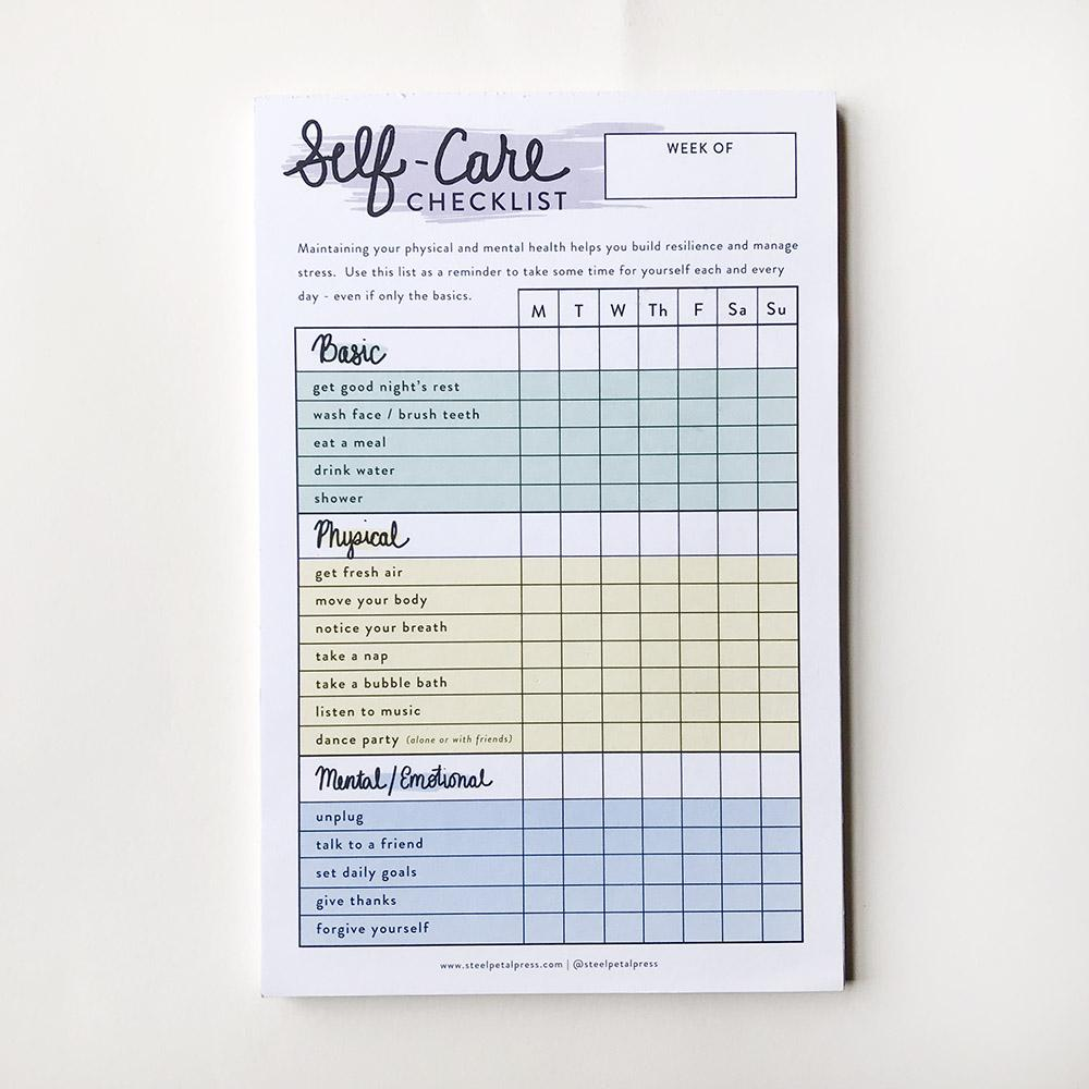 Self Care Checklist Tracker - Steel Petal Press
