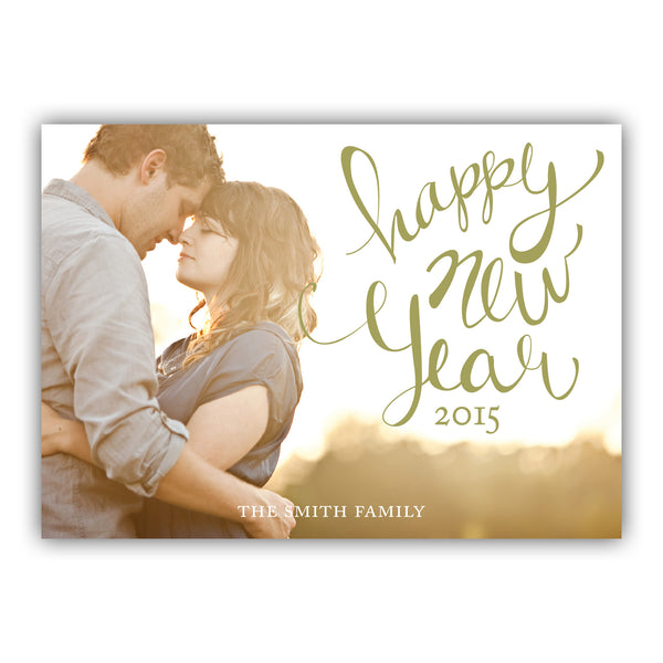 New Year Lettering Photo Card | Steel Petal Press