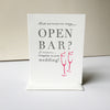 Letterpress Wedding Congrats card - Open Bar