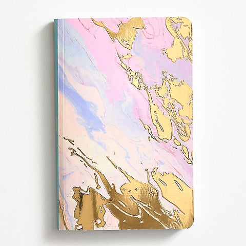 Layflat Melted Pink/Gold Marble Journal - Steel Petal Press