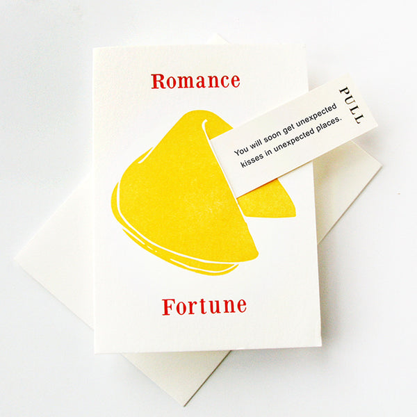 Romance Kisses card - Fortune Cookie | Steel Petal Press