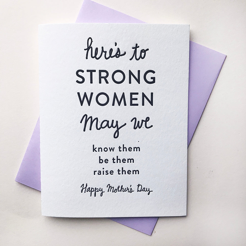 Strong Mother's Letterpress Mother's Day card
