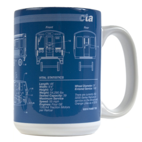CTA Train Blueprint Mug - Steel Petal Press