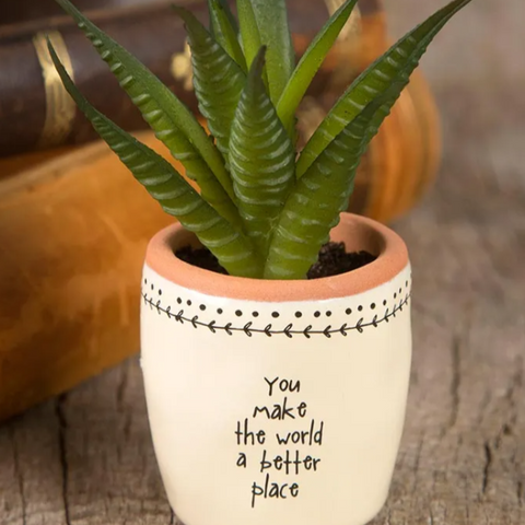 You Make The World A Better Place Faux Succulent Plant - Steel Petal Press