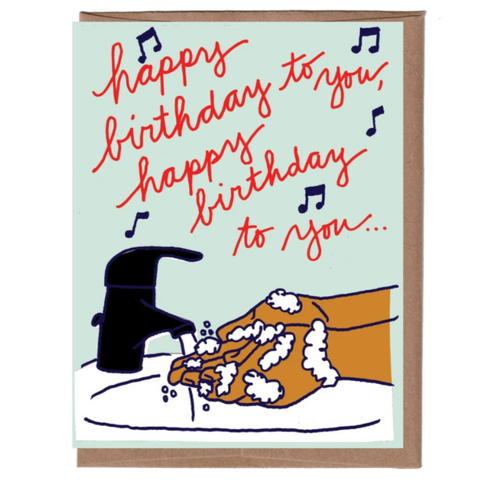 Washing Hands Birthday Card - Steel Petal Press