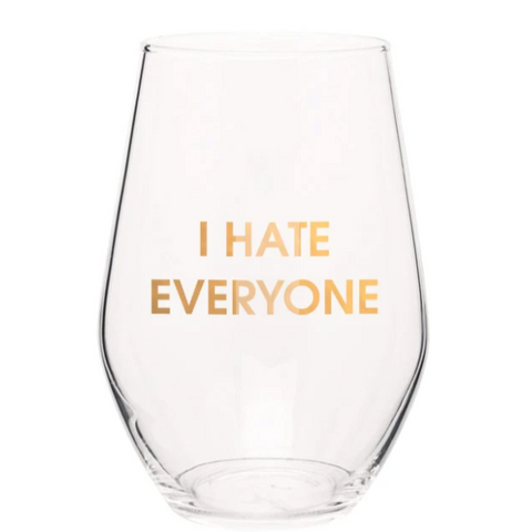 I Hate Everyone Stemless Wine Glass