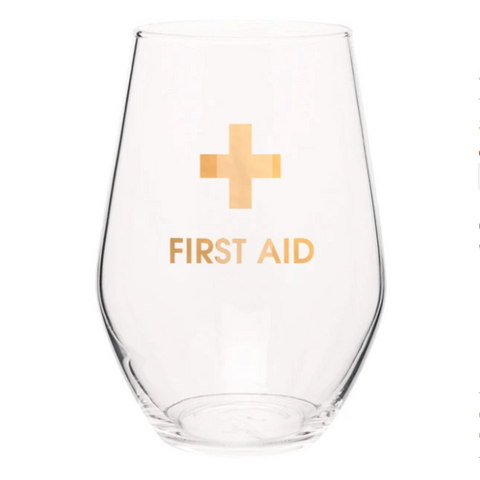 First Aid Stemless Wine Glass