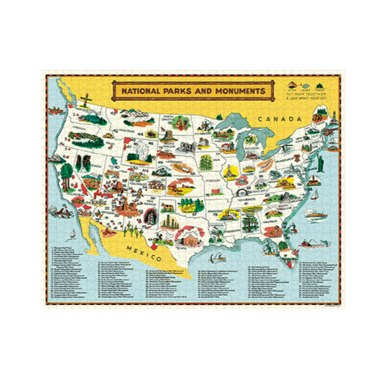 National Parks Map 1000 Piece Vintage Puzzle - Steel Petal Press