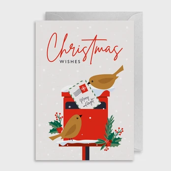 Christmas Wishes Red Mailbox Card