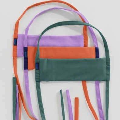 Baggu Face Mask - Light Purple Solid, Neon Orange Solid, Solid Green