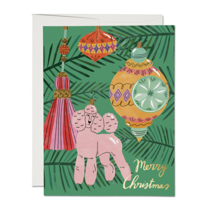 Merry Christmas Pink Poodle Ornament Card