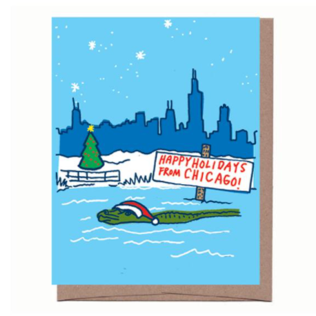 Chicago Alligator Holiday Card