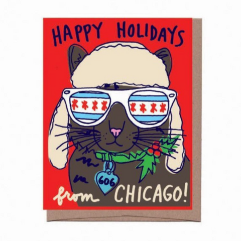 Chicago Holiday Cat Card