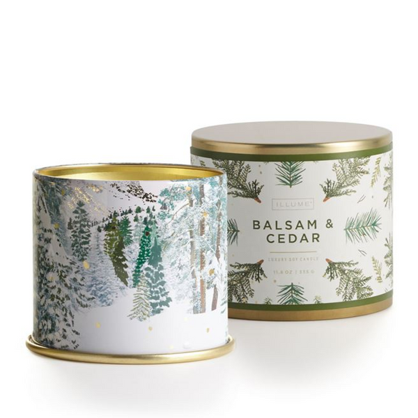 11.8 oz Large Tin Holiday Candles - Balsam Cedar
