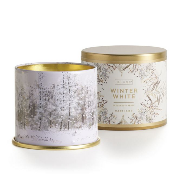 11.8 oz Large Tin Holiday Candles - Winter White