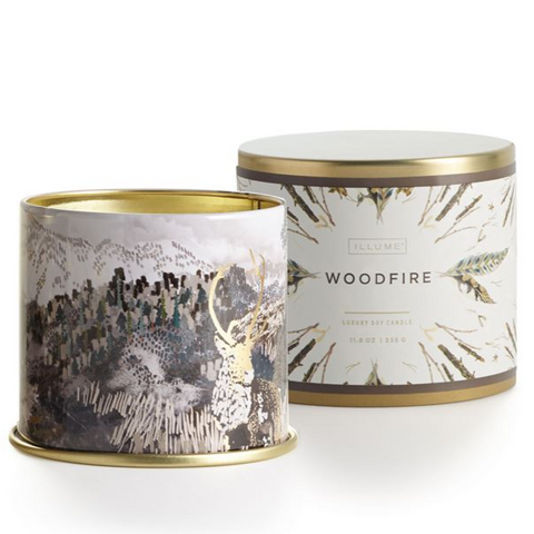 11.8 oz Large Tin Holiday Candles - Woodfire