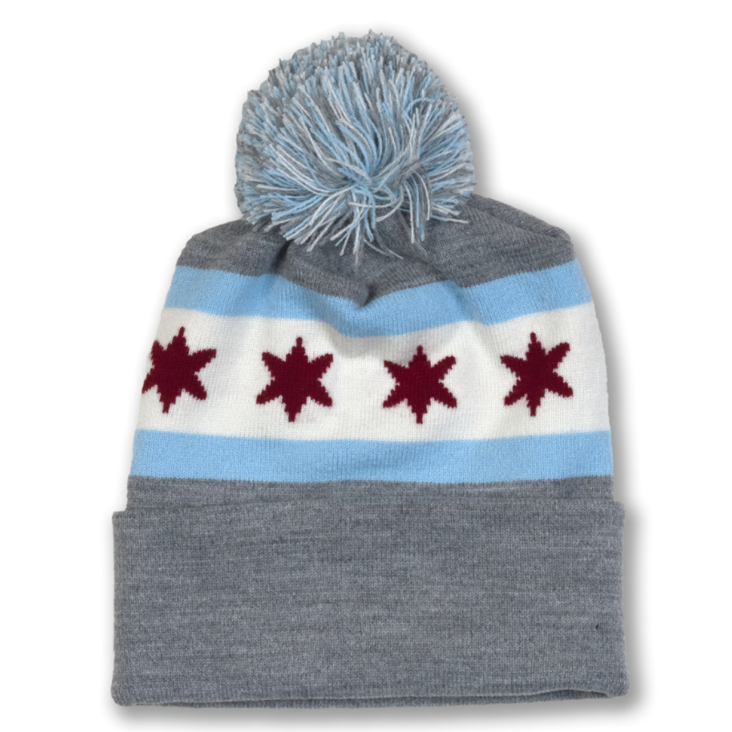 Chicago Beanie - Grey With Colored Chicago Flag
